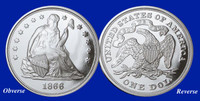 "1866 ""No Motto"" Silver Dollar Tribute Proof"