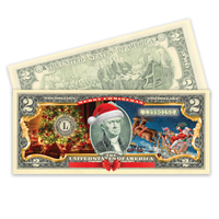 Christmas $2 Bill in Full-Color