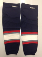 REEBOK EDGE CUSTOM HOCKEY SOCKS HARTFORD WOLF PACK NAVY BLUE PRO STOCK AHL LARGE USED