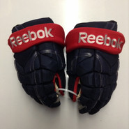 "Reebok 11KP Pro Stock Custom Hockey Gloves 14"" Columbus Blue Jackets used"