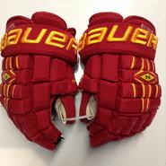 "Bauer Nexus 1000 Pro Stock Custom Hockey Gloves 14"" Ferris State Bulldogs used #27"