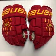 "Bauer Nexus 1000 Pro Stock Custom Hockey Gloves 14"" Ferris State Bulldogs used #4"