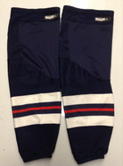CCM EDGE CUSTOM HOCKEY SOCKS HARTFORD WOLFPACK NAVY BLUE PRO STOCK AHL X-LARGE XL USED 17' STYLE