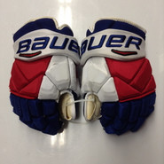 "Bauer Vapor 1X Pro Stock Custom Hockey Gloves 14"" NY Rangers used STAAL NHL"