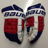 """Bauer Nexus 1000 Pro Stock Custom Hockey Gloves 15"""" NY Rangers Stepan used (2)"""