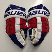 """Bauer Nexus 1000 Pro Stock Custom Hockey Gloves 15"""" NY Rangers Stepan used (3)"""