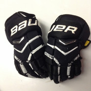 "Bauer Supreme Totalone NXG Pro Custom Pro Stock Hockey Gloves Used Black 15"" NHL #16"