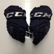 """CCM HGTK Pro Stock Custom Hockey Gloves 14"""" AHL Navy used #29"""