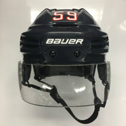 BAUER REAKT 100 PRO STOCK HOCKEY HELMET NAVY BLUE MEDIUM WOLFPACK #59