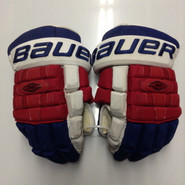 "Bauer Nexus 1000 Pro Stock Custom Hockey Gloves 15"" NY Rangers used"