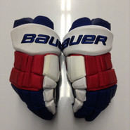 "Bauer Supreme Totalone Pro Stock Custom Hockey Gloves 14"" NY Rangers used"