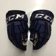 "CCM CL U+ Pro Stock Custom Hockey Gloves 14"" AHL Navy used #41"