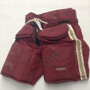 Vaughn Custom Pro Stock Hockey Goal Pants Maroon  XL X-Large Denver Cowley