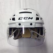 CCM VECTOR VO8 PRO STOCK HOCKEY HELMET WHITE MEDIUM AHL SPRINGFIELD THUNDERBIRDS #3