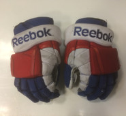 "Copy of Reebok 11KP Pro Stock Custom Hockey Gloves 14"" Hartford Wolfpack AHL used #39 (b)"
