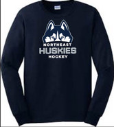 Northeast Huskies Gildan Cotton Long Sleeve T Shirt Navy Blue