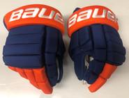 "Bauer BHPRO Pro Stock Custom Hockey Gloves 14"" NY Islanders Komarov"