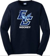 East Catholic Hockey Gildan Cotton Long Sleeve Tee Shirt Navy