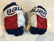 "Bauer Vapor 1X Pro Stock Custom Hockey Gloves 14"" NY Rangers used STAAL NHL (6)"