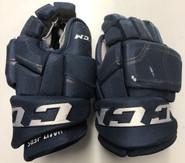 "CCM HGQL Pro Stock Custom Hockey Gloves 14"" NHL PANTHERS used Navy"