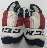 "CCM HGTKPP Pro Stock Custom Hockey Gloves 15"" NY Rangers NHL #6 used"