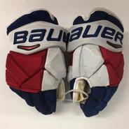 """Bauer Vapor 1X Pro Stock Custom Hockey Gloves 14"""" NY Rangers STAAL NHL used"""