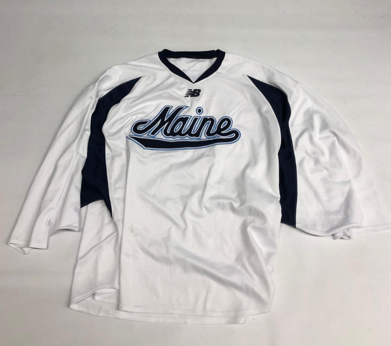 New Balance Custom Pro Stock White Hockey Goalie Practice Jersey Maine 64g 35