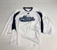 New Balance Custom Pro Stock White Hockey Goalie Practice Jersey MAINE 64G #35