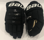 "BAUER 1N CUSTOM PRO STOCK HOCKEY GLOVES BLACK 14"" NCAA"