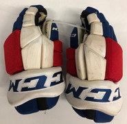 "CCM HGTKPP Pro Stock Hockey Gloves 14"" New York Rangers used Hrivik"