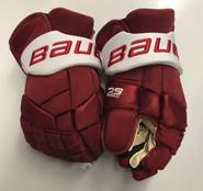 """Bauer supreme 2s Pro Pro Stock Custom Hockey Gloves 14"""" Umass Amherst Used (3)"""