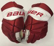 "Bauer Vapor 1x Lite Pro Stock Custom Hockey Gloves 14"" Umass Amherst Used (5)"