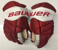 "Bauer Vapor 1x Lite Pro Stock Custom Hockey Gloves 14"" Umass Amherst Used  (6)"