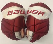 "Bauer Vapor 1x Lite Pro Stock Custom Hockey Gloves 14"" Umass Amherst Used (8)"