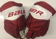 "Bauer Vapor 1x Lite Pro Stock Custom Hockey Gloves 14"" Umass Amherst Used (11)"