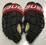 "Bauer Nexus 1N Pro Stock Custom Hockey Gloves 15"" NU Huskies Used"