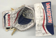 Vaughn Velocity V7 XF Carbon Goalie Blocker and Glove Halverson Hartford Wolfpack Pro stock AHL