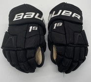 "BAUER SUPREME 1S CUSTOM PRO STOCK HOCKEY GLOVES BLACK 13"" NCAA USED"