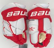 "Bauer Vapor 1X Pro Lite Custom Hockey Gloves 13"" Pro Stock White Red BU NCAA New"