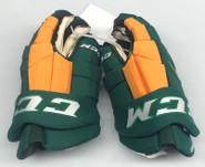 "CCM HGTK Pro Stock Custom Hockey Gloves 14"" NEW Clarkson NCAA (Kelly Green)"