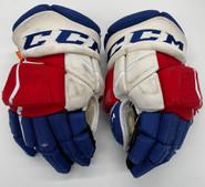 """CCM HGJS Jetspeed Custom Hockey Gloves 14"""" NHL Pro Stock Wolfpack #5 LoVerde"""
