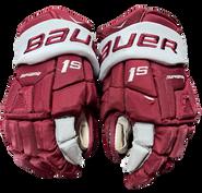 """Bauer Supreme 1S Pro Pro Stock Custom Hockey Gloves 14"""" Umass Amherst Used (7)"""