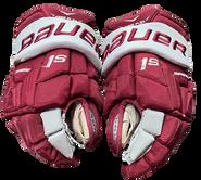 """Bauer Supreme 1S Pro Pro Stock Custom Hockey Gloves 14"""" Umass Amherst Used (8)"""