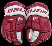 """Bauer Supreme 1S Pro Pro Stock Custom Hockey Gloves 14"""" Umass Amherst Used (9)"""
