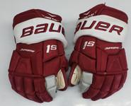 "Bauer Supreme 1s Pro Stock Hockey Gloves 14"" Umass Amherst Used (14s)"