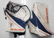 Bauer Supreme 2S Pro Goalie Catcher and Blocker Gilliam Pro Stock Used Soundtigers AHL