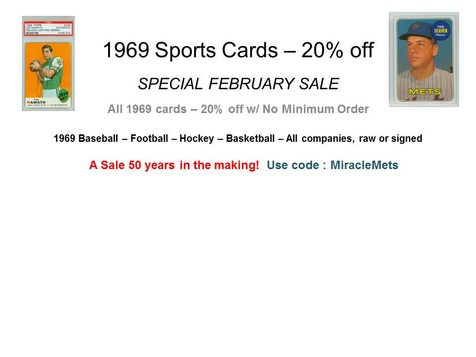 1969 Sports Cards 20% off - use code MiracleMets