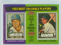 1975 Topps Baseball 190 1952 MVP Excellent to Mint