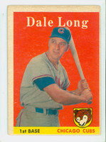 1958 Topps Baseball 7 Dale Long Chicago Cubs Very Good to Excellent