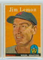 1958 Topps Baseball 15 Jim Lemon Washington Senators Excellent to Excellent Plus